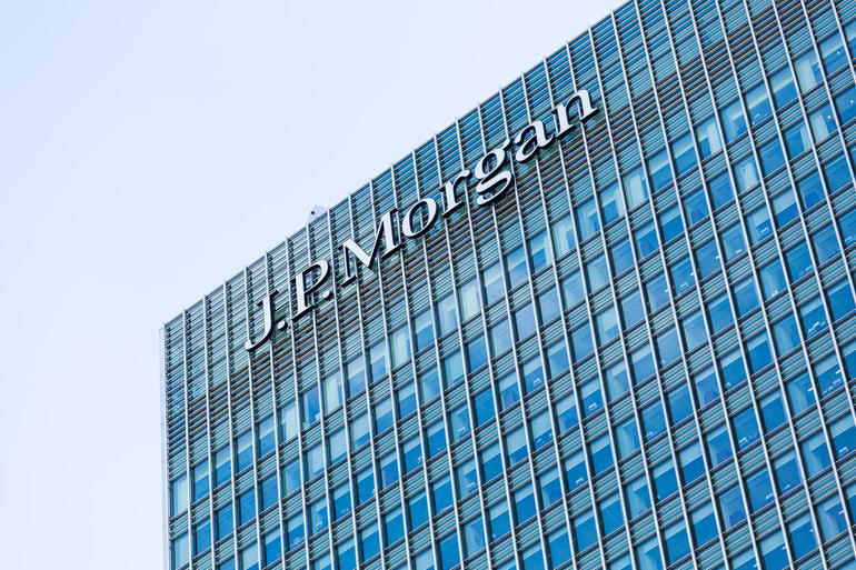 Logo or sign for JP Morgan in Canary Wharf