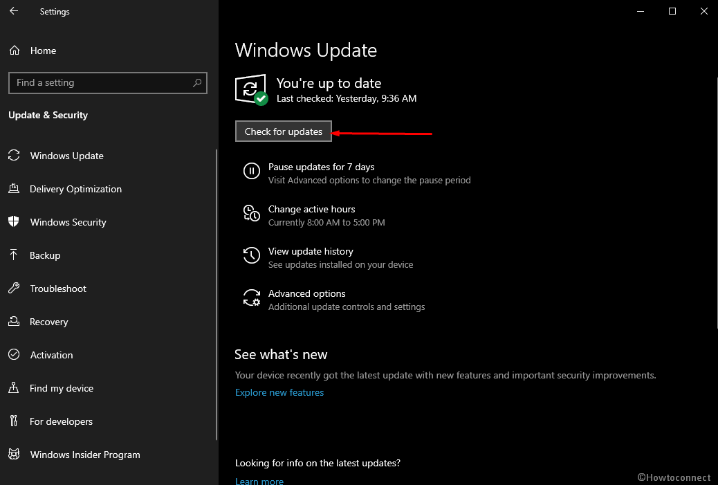 Check for updates in Windows update settings