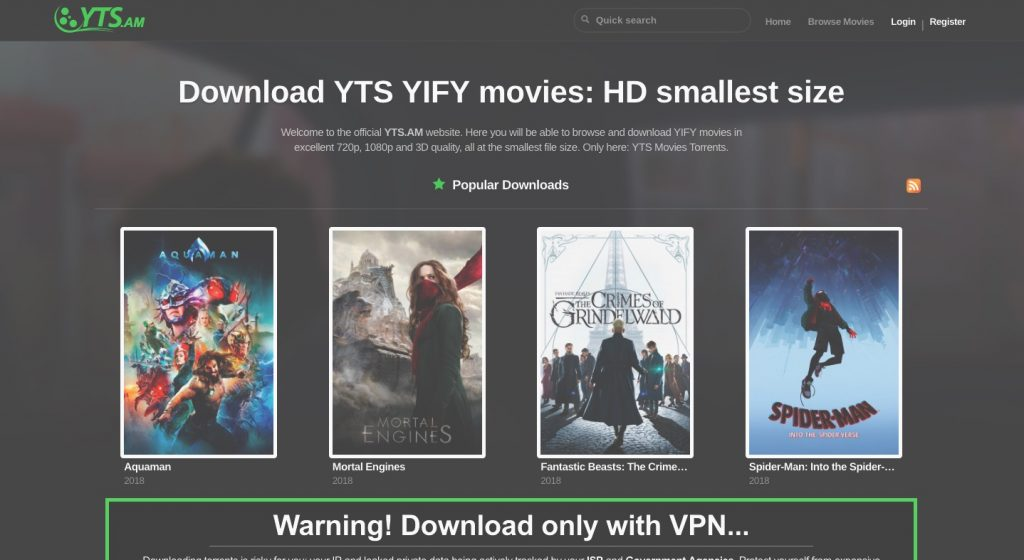 YIFY, YTS Proxy, Mirror website To Unblock YTS,YIFY