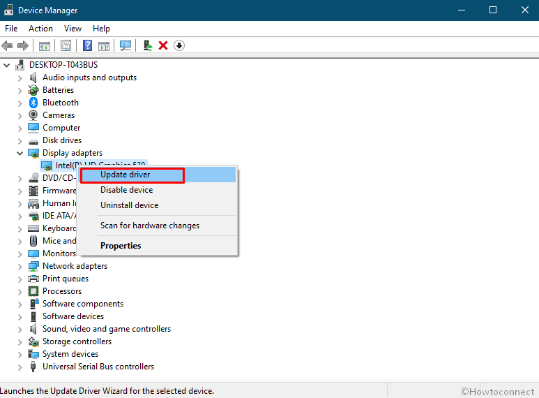 Update driver device manager