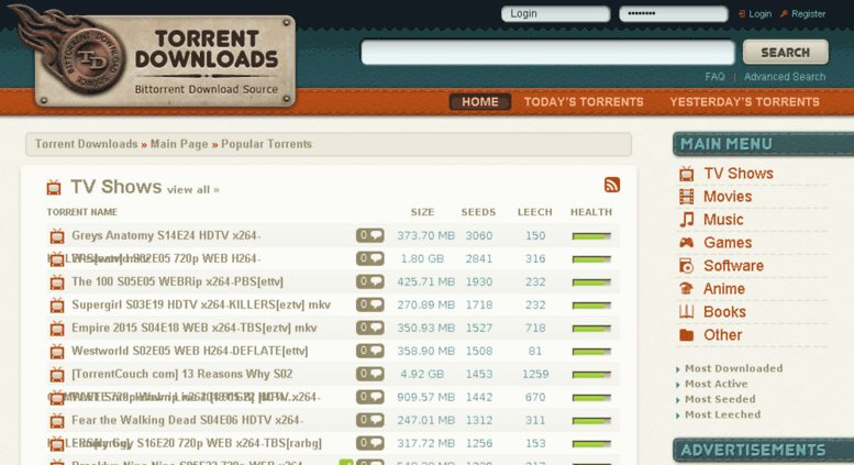 Torrent Downloads Proxy, Alternative and Mirror site